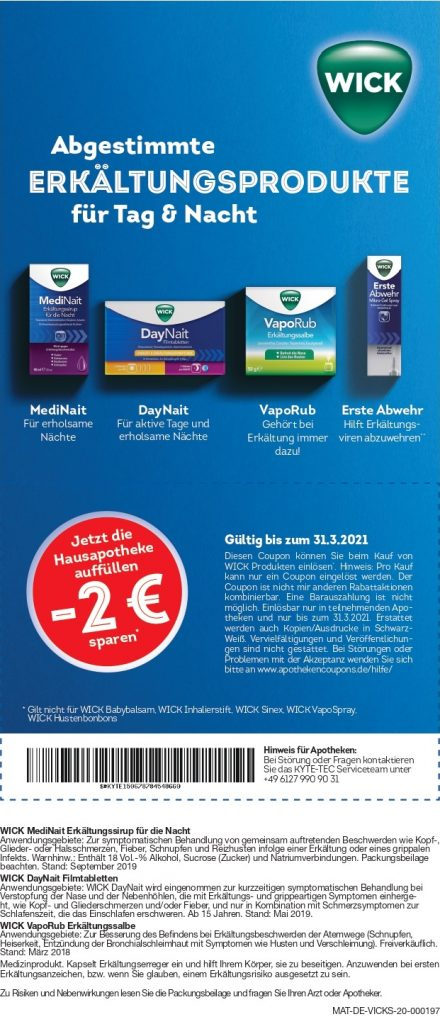2 Euro Sofortrabatt für ausgewählte Wick-Produkte